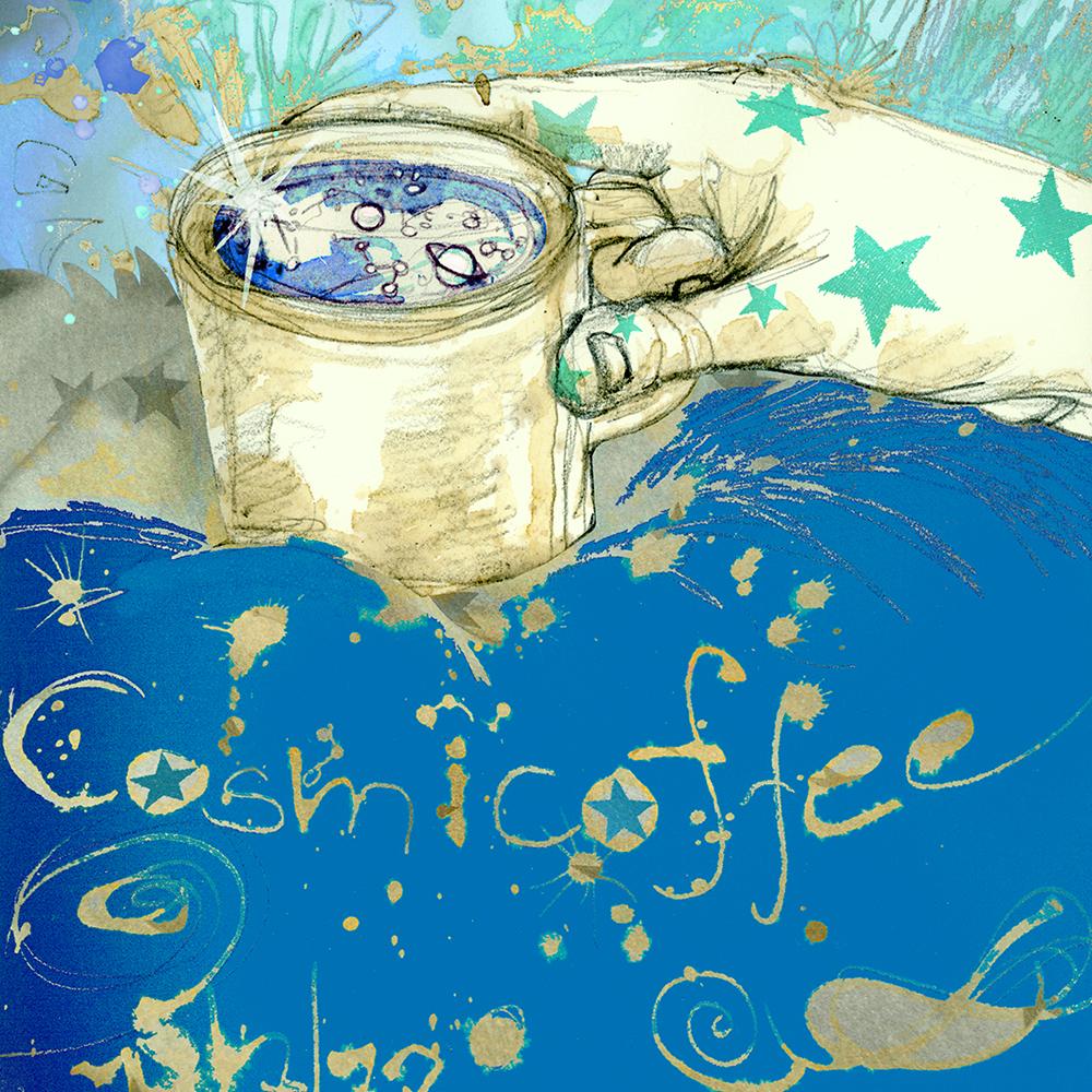 """Cosmic Coffee"" aus Kaffee und Bleistift, digital koloriert"