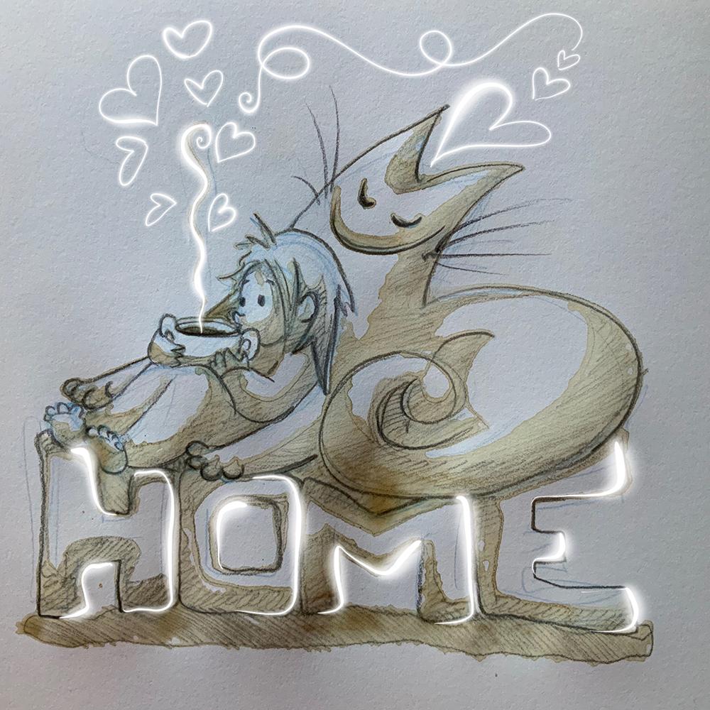 """""""Home"""" Kaffee und Bleistift, digital nachbearbeitet"""