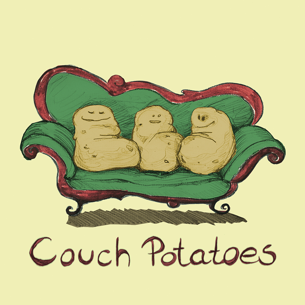 """Couch Potatoes"" aus Bleistift, digital koloriert"