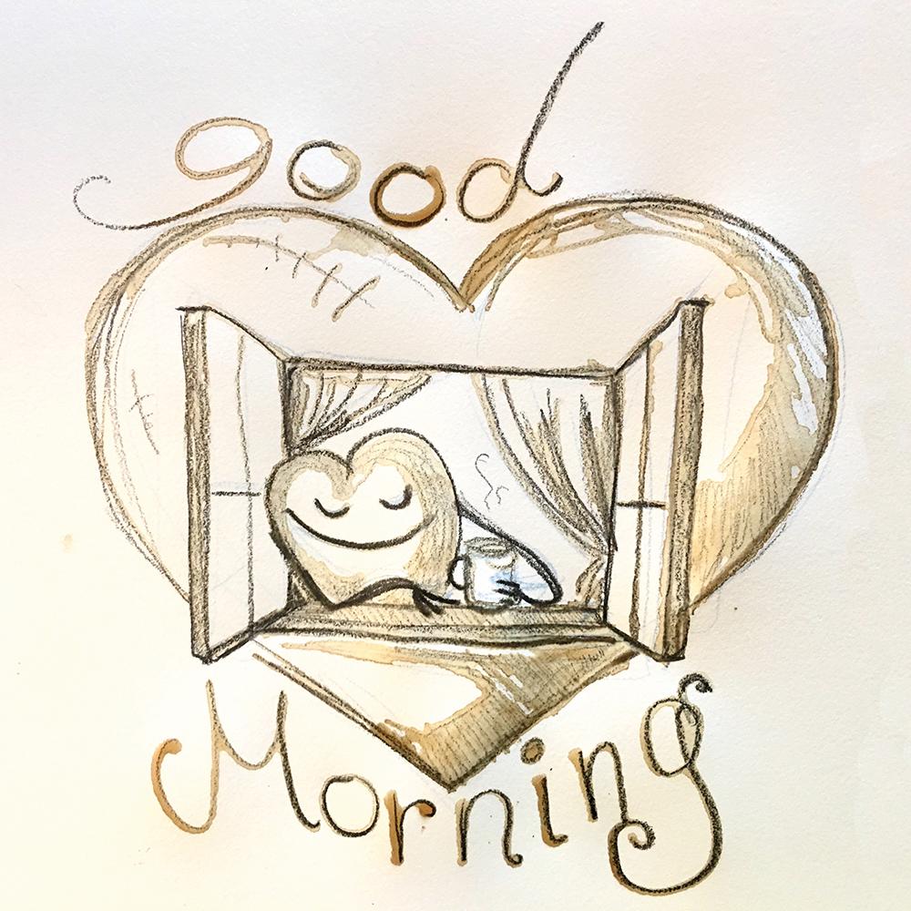 """Good Morning Heart"" aus Kaffee und Bleistift"