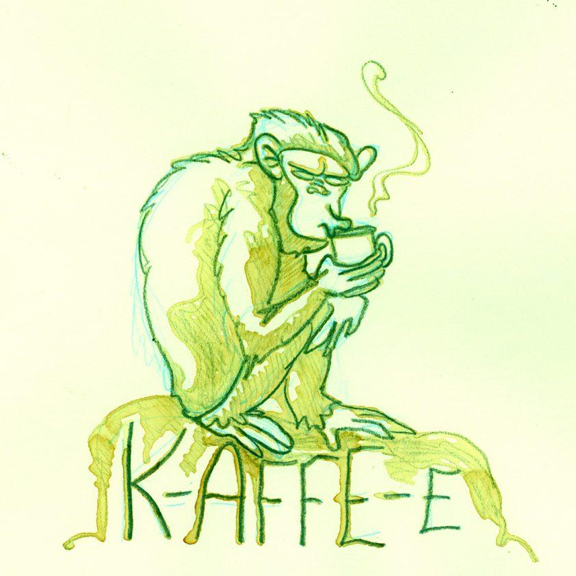 """""""K-AFFE-E"""" aus Kaffee mit Bleistift"""