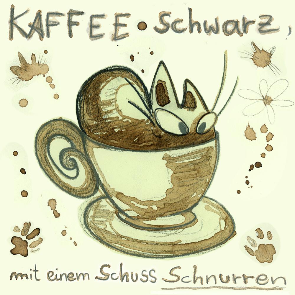 """""""Kaffee schwarz"""" aus Kaffee und Bleistift"""